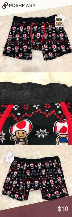 I'm a Fungi Fun Guy Super Mario Nintendo Boxers All items photographed immediately prior to packing for shipping   Expect to receive a well-packed item! It may not be pretty packing but I like to use upcycled material & make sure it gets to you without being affected by the elements for you to enjoy asap! Underwear & Socks Boxer Briefs