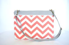 Coral Chevron Laptop Bag for 13.3 MacBook Pro by bertiescloset, $59.99