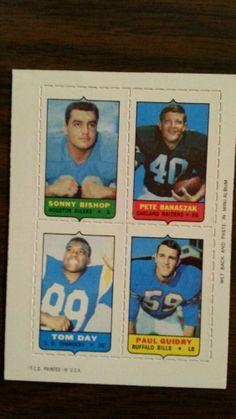 "1969 Topps 4-1 Football ""Bishop,Banaszak,Day,Guidy"""