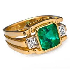 Carat Emerald Ring w/ Diamond Accents Gold Mens Emerald Rings, Mens Gemstone Rings, Mens Gold Rings, Emerald Jewelry, Emerald Diamond, Gold Jewellery, Mens Ring Designs, Gents Ring, Men's Jewelry Rings