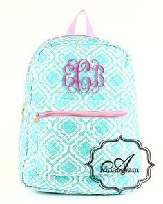 #aqua #monogrammed #pink #vineinterwined #embroidery #atlantamonogram #backpack #bookbag #preppy #quatrefoil #personalized