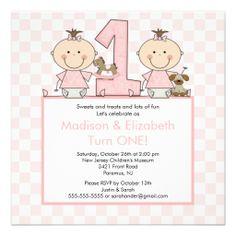 Twin Girls Stick Figure Twins Birthday Invitation