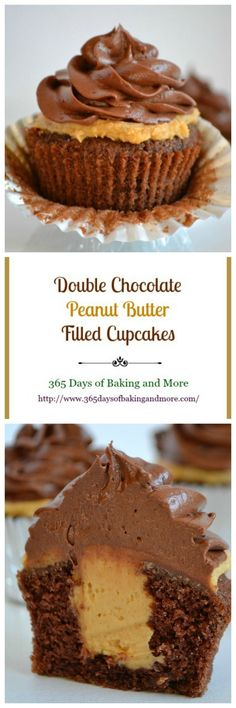 Double Chocolate Peanut Butter Filled Cupcakes peanut butter chocolate for peanut butter lovers peanut butter with peanut butter easy Peanut Butter Filled Cupcakes, Peanut Butter Filling, Peanut Butter Desserts, Peanut Recipes, Vegan Recipes, Cooking Recipes, Cupcake Recipes, Cupcake Cakes, Dessert Recipes