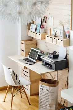 Another way of creating space in the office is by installing a flat surface, to be used as a table, and drawers to the wall. This will mean that instead of adding a whole cabinet to the room, you can easily use the drawers that are installed to the wall.
