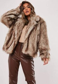 Missguided Brown Faux Collared Coat – Most Beautiful Fur Models Brown Faux Fur Coat, Faux Fur Collar Coat, Faux Fur Jacket, Faux Fur Coats, Fur Coat Outfit, Pants Outfit, Coats For Women, Missguided, Women's Coats