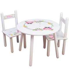 Chids Table & Chair Set - personalized with Owl Design for Girls Bedroom Playroom - Kids Furniture for Woodland Nursery White Table