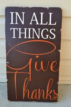 give thanks fall signs fall decor typography word art brown and orange home decor housewarming porch decor distressed wood sign hand painted by DesignsOnSigns3 on Etsy