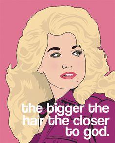 16x20  Dolly Parton Digital Drawing- Big Hair. $60.00, via Etsy.