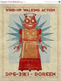"Items similar to Girls Room Decor- Doreen Box Art Retro Robot Art Print Retro Robot Nursery- Robot Wall Art- Robot Print Seen"" Land of Nod on Etsy Vintage Robots, Retro Robot, Vintage Toys, Vintage Labels, Robot Nursery, Robot Monster, Space Toys, Vintage Theme, Science Fiction Art"