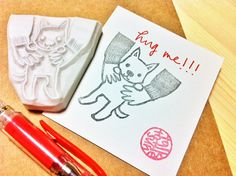 puppy dog hand carved rubber stamp by talktothesun