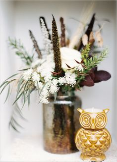 rustic wedding decor - love the owl! | photo by Josh Deaton