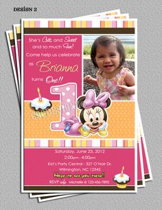 Baby Minnie Mouse 1st Birthday Party Invitations -FREE Thank You Card also included  -DIY Digital File -You Print. $16.00, via Etsy.