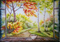 """Купить картина """"Тёплый сентябрь"""" - осень, картина, картина для интерьера, Картины и панно, окно, деревья"""