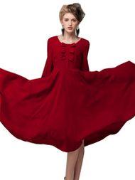 Sweet Bows O-Neck Long Sleeve Maxi Chiffon Dress