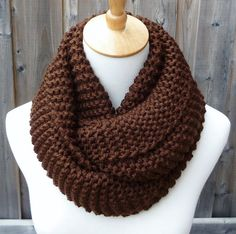 Chocolate Brown Infinity Scarf - Dark Brown Infinity Scarf - Chunky Knit Scarf - Circle Scarf - Ready to Ship