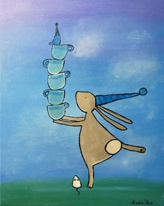 Whimsical Rabbit and Teacups Original Painting Kids by andralynn, $100.00