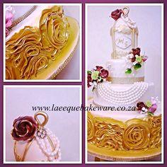 Birdcage and rose ruffles wedding cake