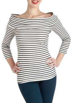 Yacht to Attend Top - Cotton, Short, Exclusives, White, Black, Stripes, Casual, Nautical, Long Sleeve
