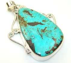 $58.50 Movment Turquoise Sterling Silver Pendant at www.SilverRushStyle.com #pendant #handmade #jewelry #silver #turquoise