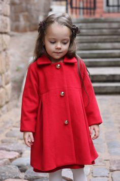 Girls wool coat autumn winter red black soft special occasion baby infant…