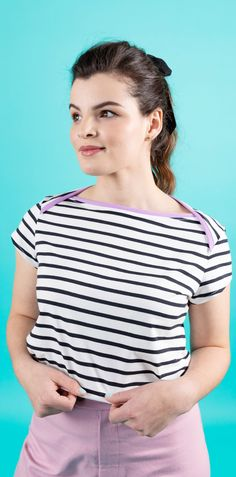 Upgrade your casual me-made wardrobe with this stylish (and comfy!) top and dress. The optional back ties or contrast binding add a fun twist to the classic Breton or t shirt dress. Romy has a modern loose fit and high slash envelope neckline, with choice of cap, three quarter or full length sleeves for year-round style. Designed for knit fabrics, whip it up on either a regular sewing machine or overlocker (serger). Once you've made one, you'll be hooked! #sewingpattern #stripeydress…