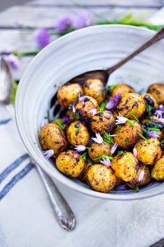 Feasting at Home: Grilled Potato Salad with Black Garlic Vinaigrette