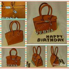 "Hermes inspired Birkin Cake #ChocolateDevilishCake #Hermes #Birkin #Birkin25 #Birkin30 #Birkin35 #OrangeBirkin #NoveltyCake #3DCake #InstaCake   ""Happy Birthday Verna!""  #ximiCake #BakedByPriscillia #BakedByPeien  www.Facebook.com/ximicake"