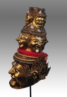 Special Thai Hermit mask with representation of Brahma in the middle and another 4 Hermit faces on top . Private collection of Stephane Peray - artist based in Bangkok
