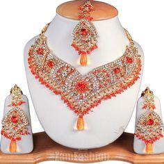 Fashion Gold Plated Clear Crystal Rhinestone Jewellery Necklace Set Orange V104
