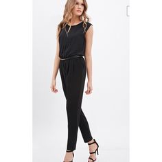 "FOREVER 21 Chiffon Pleated Black jumpsuit Love 21 - Who says cocktail attire has to be strictly pretty dresses? We'd like to challenge that notion with this sleeveless chiffon jumpsuit. A must-have for your next fancy event, it features a pleated front, a buttoned cutout back, and a skinny faux leather belt. Slanted front pockets, partially lined Lightweight, woven 100% polyester 50"" full length, 35"" waist to hem, 28"" inseam, 28"" waist, 34"" chest Measured from Small Dry clean Imported…"