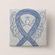Gray Awareness Ribbon Angel Custom Art Pins