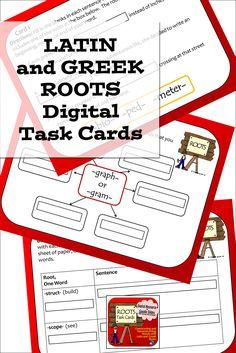 Latin and Greek Roots - digital task cards for Google slides with a variety of fun activities for middle school and up per elementary students Fun Classroom Activities, Vocabulary Activities, Multiple Meaning Words, Root Words, Prefixes, Create Words, Upper Elementary, Writing Skills, Task Cards