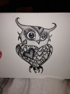 Owl cute hearts girly drawing pencil frame by StartActinLikeaLady