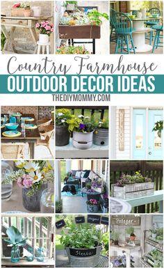 Gorgeous country farmhouse outdoor decor & DIY ideas for your patio, deck, garden and yard
