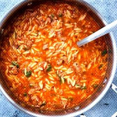 #delicious #flavour #minutes #italian #sausage #tomato #takes #spicy #pasta #only #this #rich #with #soup #orzo This One Pot... Orzo Recipes, Cooking Recipes, Healthy Recipes, Cooking Ribs, Quiche Recipes, Veg Recipes, Chili Recipes, Vegetarian Recipes, Healthy Food