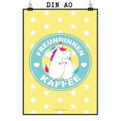 Poster DIN A0 Einhorn Freundinnen Kaffee aus Papier 160 Gramm  weiß - Das Original von Mr. & Mrs. Panda.  Jedes wunderschöne Poster aus dem Hause Mr. & Mrs. Panda ist mit Liebe handgezeichnet und entworfen. Wir liefern es sicher und schnell im Format DIN A0 zu dir nach Hause. Das Format ist 841 mm x 1189 mm.    Über unser Motiv Einhorn Freundinnen Kaffee  ##MOTIVES_DESCRIPTION##    Verwendete Materialien  Es handelt sich um sehr hochwertiges und edles Papier in der Stärke 160 Gramm    Über…