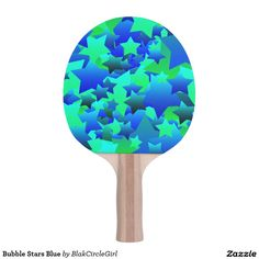 Bubble Stars Blue Ping-Pong Paddle