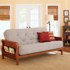 Better Homes Gardens Wood Arm Futon With 8 Coil Mattress Multiple Colors Com