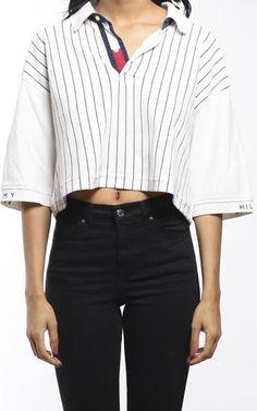 Vintage Tommy Hilfiger Collared Crop Shirt