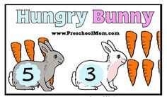 Spring- Easter Bunny File Folder Counting Correct Carrots Game