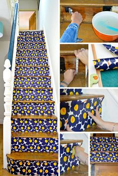 Marimekko Stair Transformation - How to wallpaper stairs full step by step tutorial