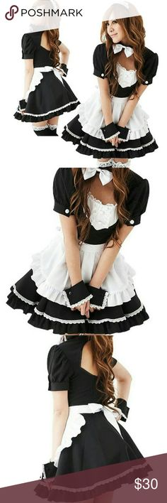 French Maid Dress Lolita Cosplay Costume Halloween Like New  Unworn 5 pieces costume: Dress with bow tie Apron Headband Cuffs X 2   Suggested size: One size fit most from XS to Medium Bust: 79 to 87cm  Waist: 64 to 70cm Hip: 87 to 95cm  Bought during my trip to Japan Great for Halloween or cosplay Dresses
