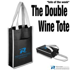 #RohamInt #ToteoftheWeek– The Double Wine Tote!  With all the holiday gatherings coming up, The Double Wine Tote is a perfect branding opportunity!  This would be perfect for a company holiday party, promotional event, or as a special gift for your clients to make your business stand out with this promotional opportunity!