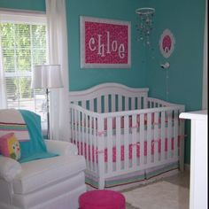 LOVE the color blue for baby room walls. Pink accessories for a girl, dark blue or green or even red for a boy...