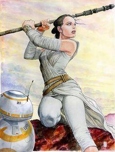 Star Wars: Rey and BB8 by Milo Manara......////
