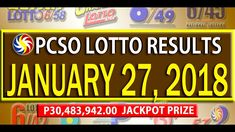 PCSO Lotto Results - January 27, 2018 | 6/55, 6/42, 6D, SWERTRES & EZ2 L... Lotto Results, January 2018, December 26, July 24, Youtube, Youtubers, Youtube Movies