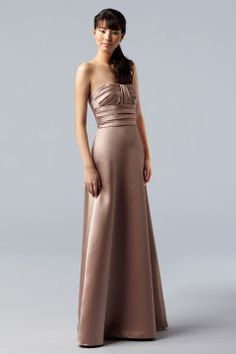 Strapless A-line with ruffle embellishment satin bridesmaid dress