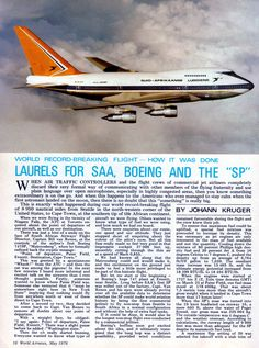 Page 1 May 1976 World Airnews article of SAA 747 SP ZS-SPA Matroosberg's World Record Flight