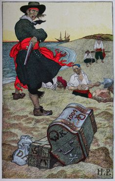 """23 May 1701, Captain William Kidd was hanged at Execution Dock in Wapping, London, for murder and piracy. Depicted below is Howard Pyle's fanciful illustration of William """"Captain"""" Kidd overseeing the burial of his fabled treasure (1911) from """"Howard Pyle's Book of Pirates: Fiction, Fact & Fancy Concerning the Buccaneers & Marooners of the Spanish Main"""" (1921)."""