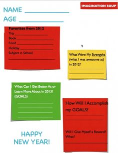 New Years Resolutions 2013 Printable for Kids
